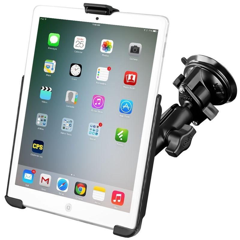 RAM Mounts Saugfuss-Halterung Apple iPad mini 1-3 - mittlerer Verbindungsarm, Diamond-Basisplatte (Trapez), runde Basisplatte (AMPS), Halteschale, B-Kugel (1 Zoll)