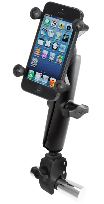 RAM Mounts X-Grip Klemm-Halterung für Smartphones bis 82,6 mm Breite - B-Kugel (1 Zoll), kleine Tough-Claw, langer Verbindungsarm