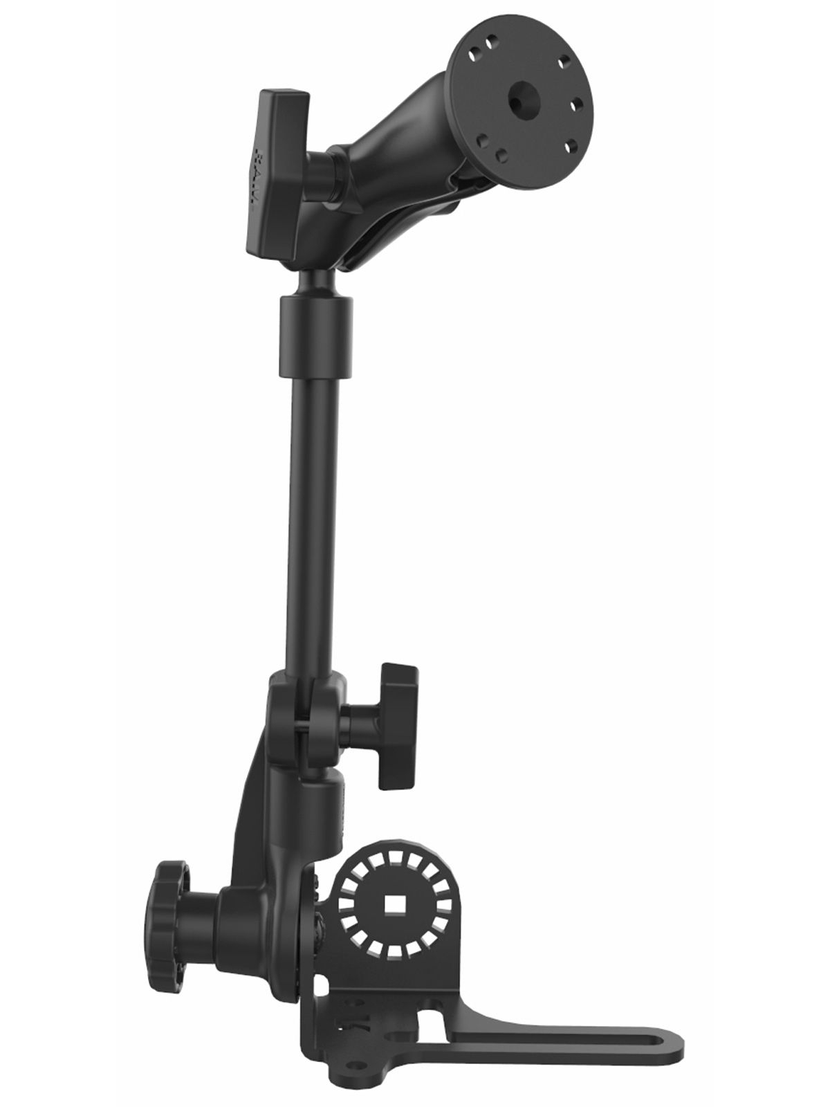 RAM Mounts Pod HD Universal Fahrzeughalterung mit AMPS-Anbindung - Ratchet-System (revers), max. 80 cm hoch, mittlerer Verbindungsarm, runde Basisplatte, C-Kugel (1,5 Zoll)