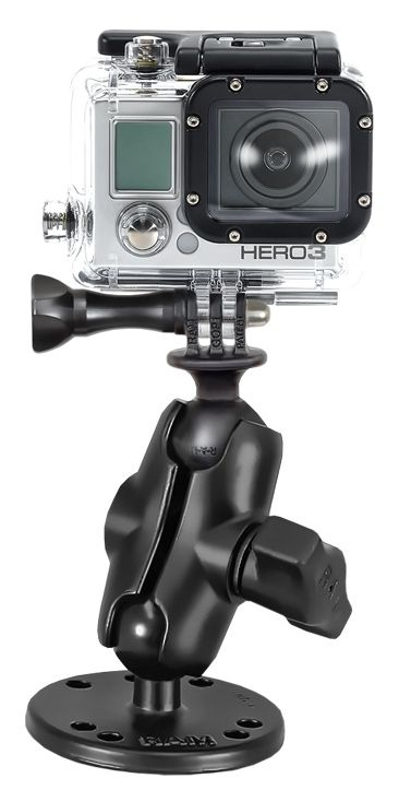 RAM Mounts GoPro Aufbau-Kamerahalterung (kurz) - mit runder Basisplatte (AMPS), B-Kugel (1 Zoll), im Polybeutel