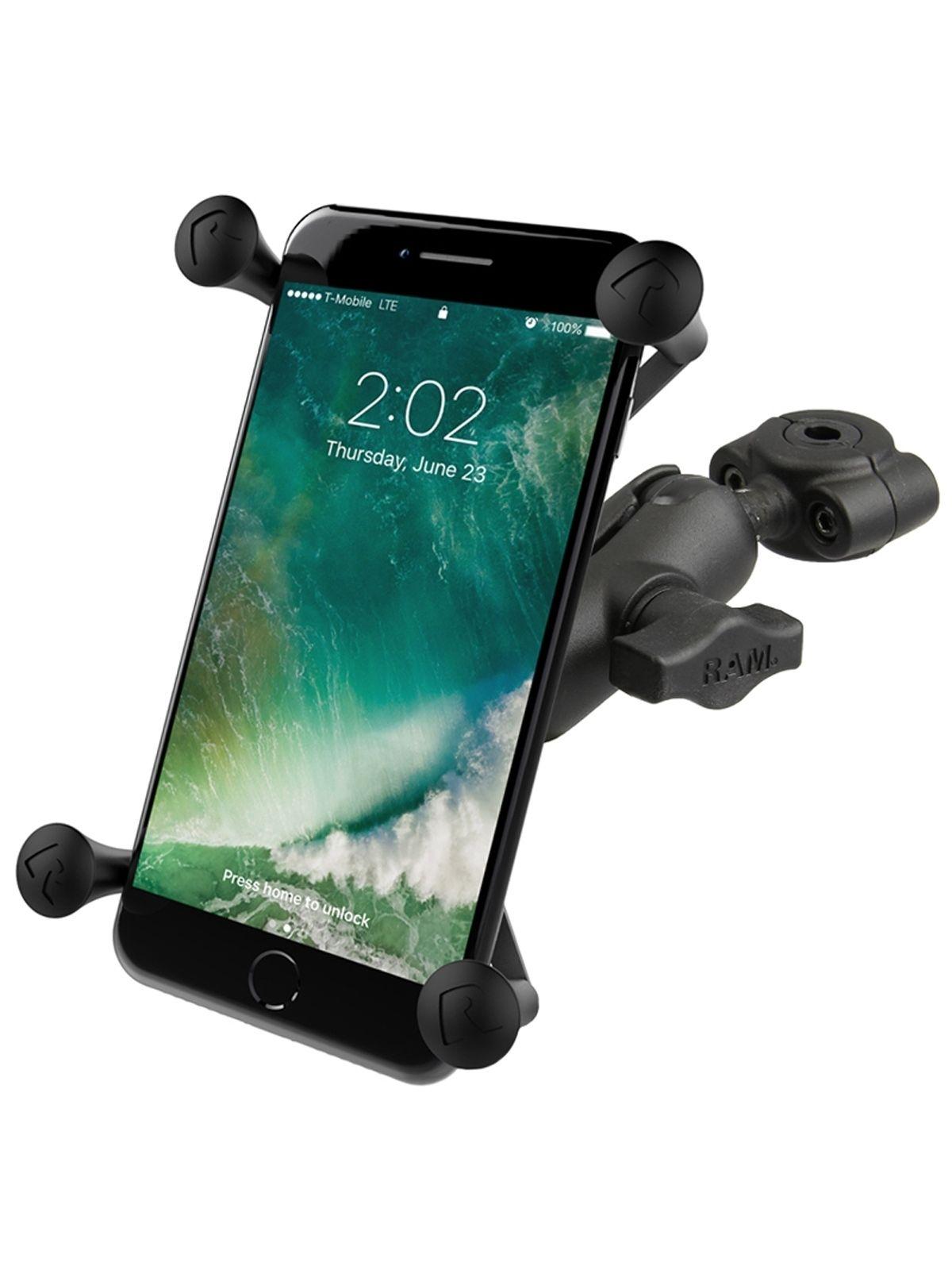 RAM Mounts X-Grip Motorrad-Halterung für Smartphones bis 114,3 mm Breite - B-Kugel (1 Zoll), Torque-Schraubklemme (Durchmesser 9,5-15,8 mm), kurzer Verbindungsarm