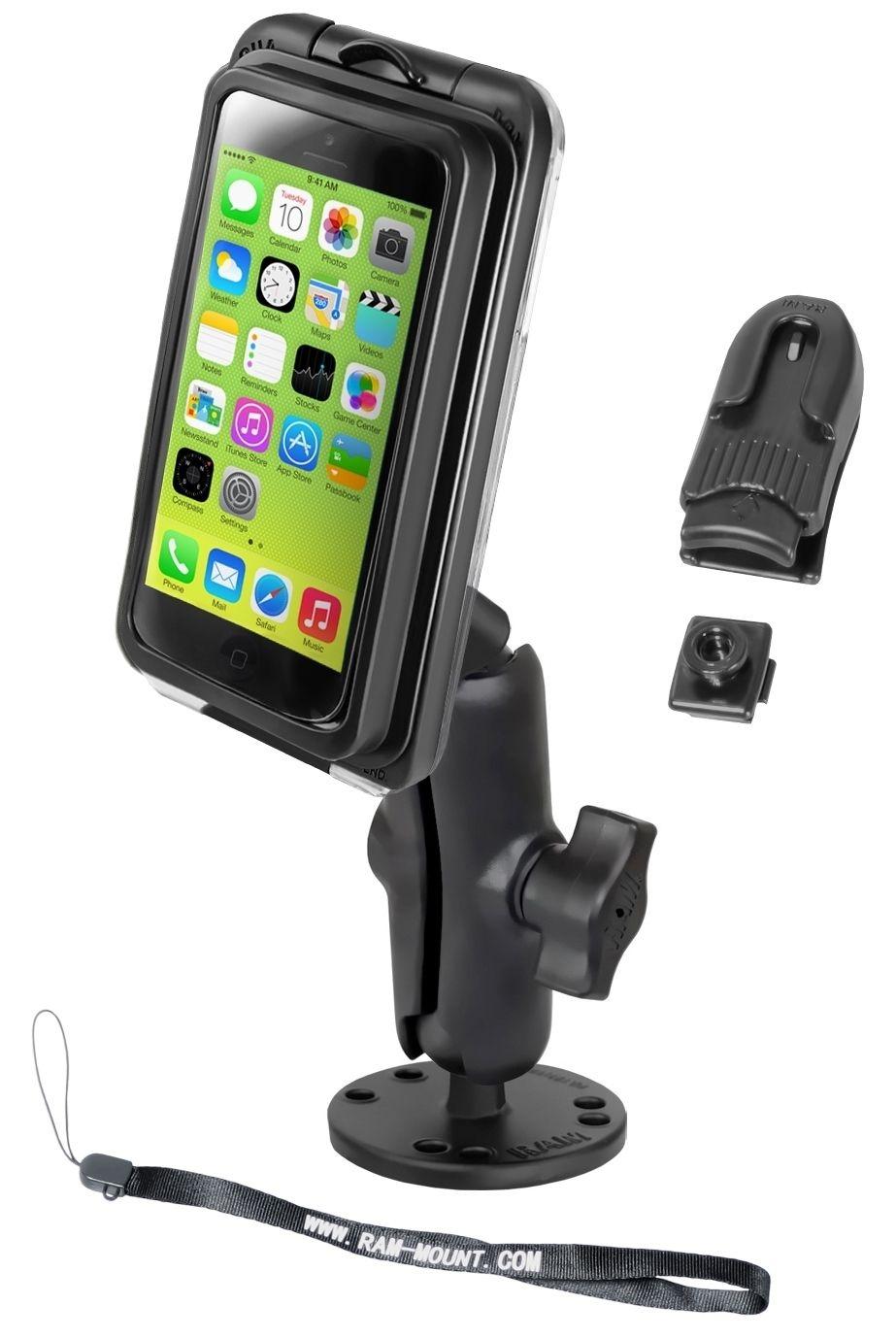 RAM Mounts Aufbau-Halterung mit Aqua Box PRO 20 für Apple iPhone 5 - runde Basisplatte, mittlerer Verbindungsarm, B-Kugel (1 Zoll), Gürtel-Clip, Handschlaufe