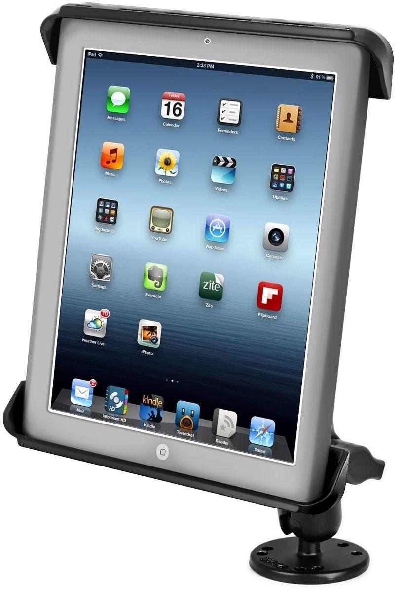 RAM Mounts Aufbau-Halterung 10 Zoll Tablets - B-Kugel (1 Zoll), runde Basisplatte (AMPS), mittlerer Verbindungsarm, Tab-Tite Halteschale