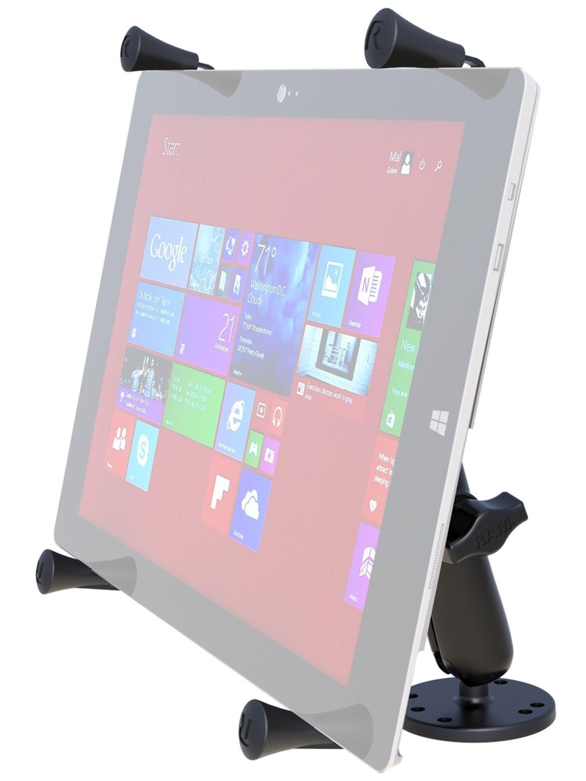 RAM Mounts X-Grip Aufbauhalterung für Tablets (12 Zoll) - B-Kugel (1 Zoll), runde Basisplatte (AMPS), langer Verbindungsarm