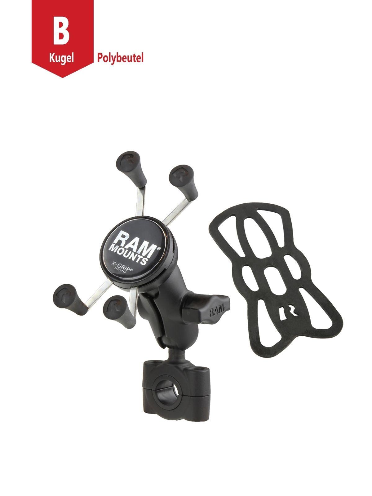 RAM Mounts X-Grip Motorrad-Halterung für Smartphones bis 82,6 mm Breite - B-Kugel (1 Zoll), Torque-Schraubklemme (Durchmesser 19,0-25,0 mm), kurzer Verbindungsarm