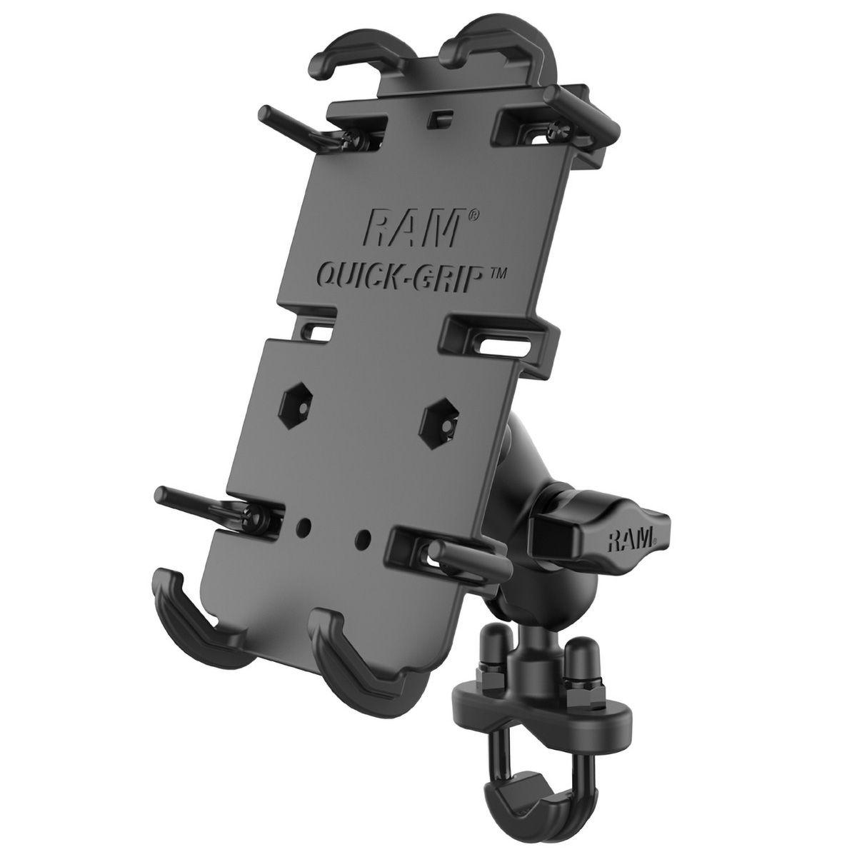 RAM Mounts Universal Lenker-/Rohr-Halterung - B-Kugel (1 Zoll), Rohr-Klemme, kurzer Verbindungsarm, Universal Quick-Grip XL Halteschale