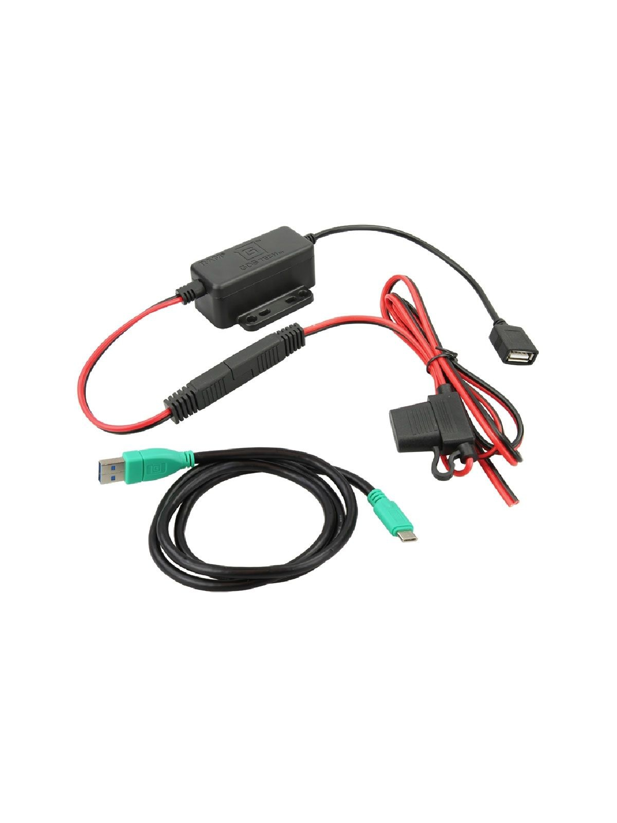 RAM Mounts GDS Strom-Modul - offene Enden, USB Typ-A Anschluss, 8/40 V DC Eingangsspannung, inkl. USB-Verbindungskabel (USB/USB-C)