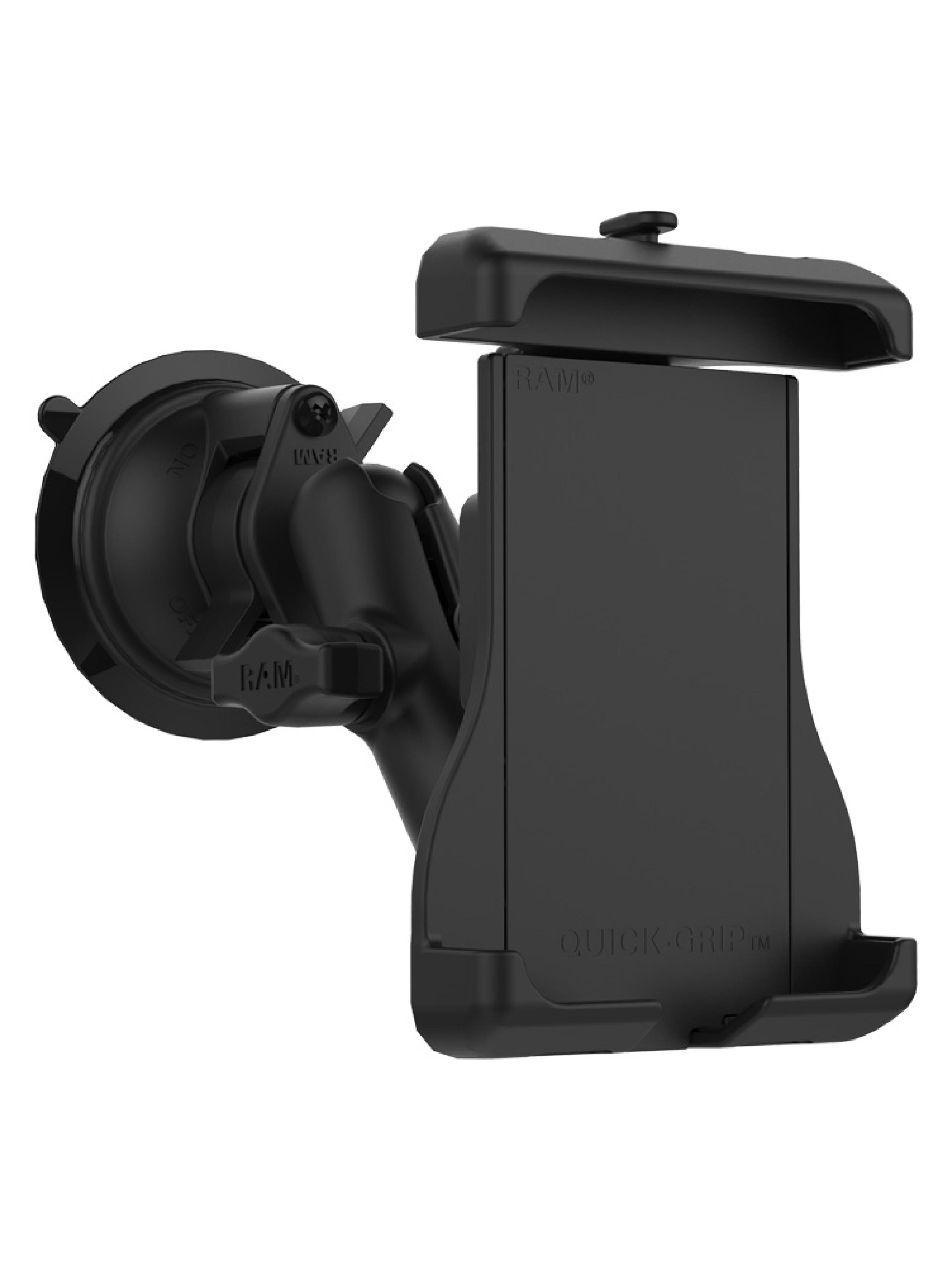 RAM Mounts Saugfuss-Halterung mit Quick-Grip Halteschale für Apple MagSafe kompatible Smartphones - B-Kugel (1 Zoll)