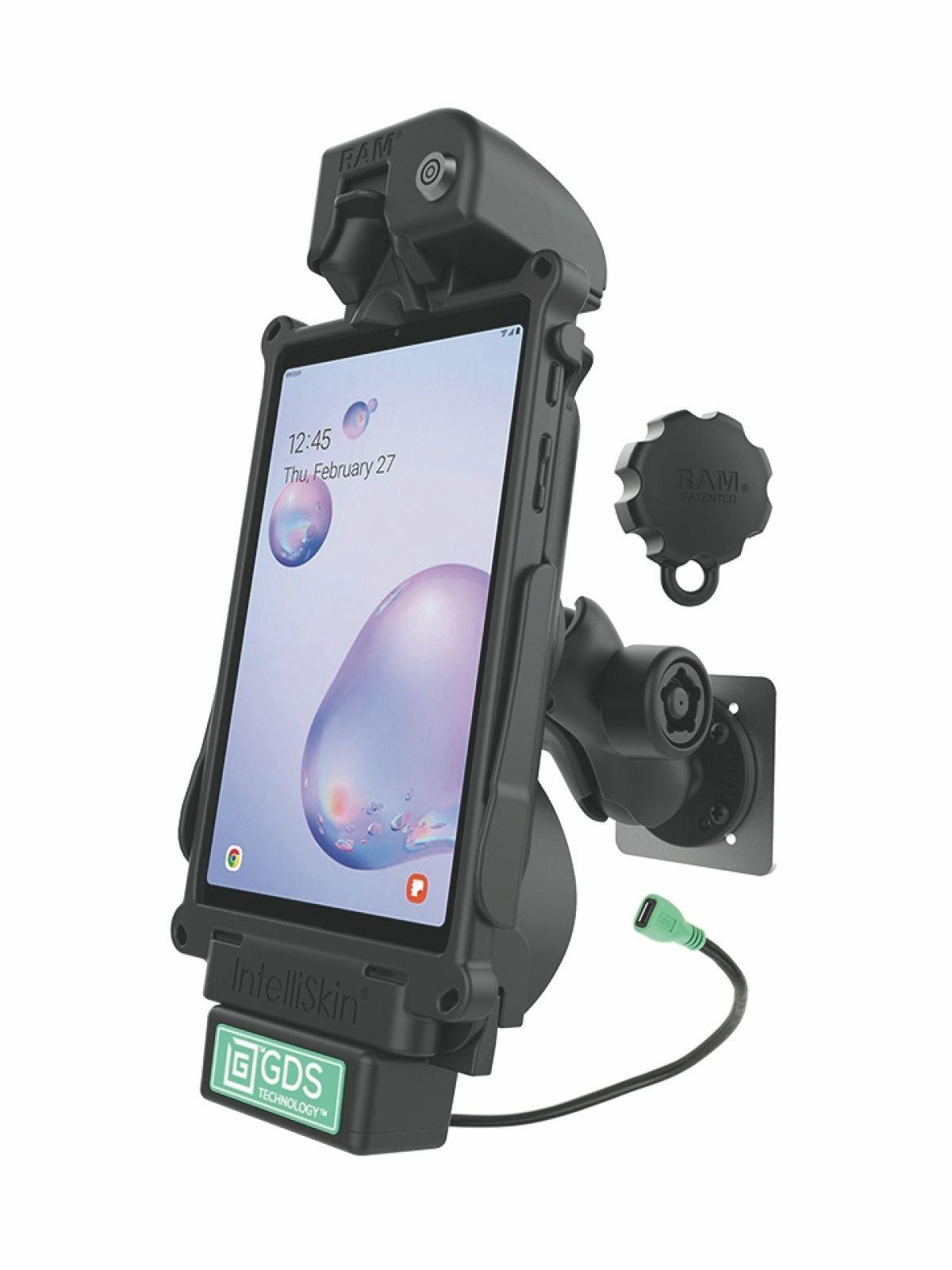 RAM Mounts GDS Bundle Dockingstation u. IntelliSkin-Lade-/Schutzhülle Samsung Tab A 8.4 (SM-T307) - microUSB-Stromanbindung, abschließbar, für Wandbefestigung geeignet, Pin-Lock Sicherung