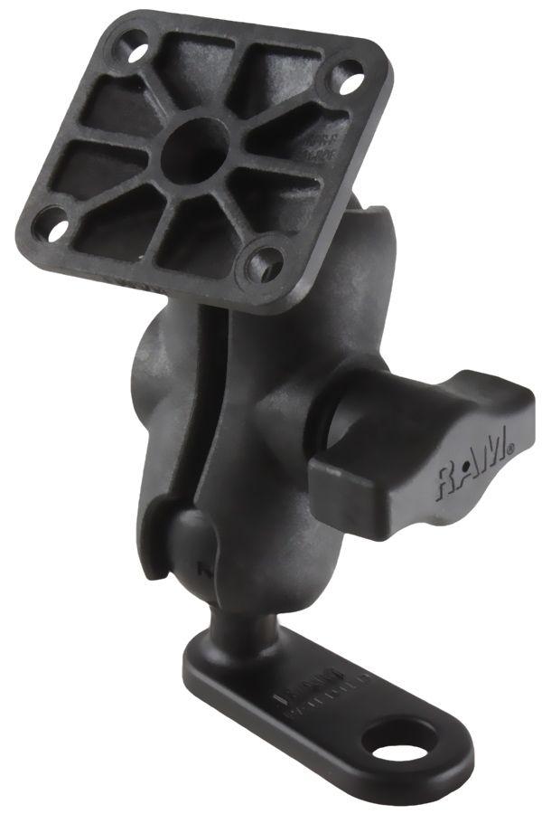 RAM Mounts Verbundstoff Motorrad-Set - Adapter mit 11 mm Bohrung (Aluminium), kurzer Verbindungsarm, rechteckige Basisplatte, B-Kugel (1 Zoll), im Pol