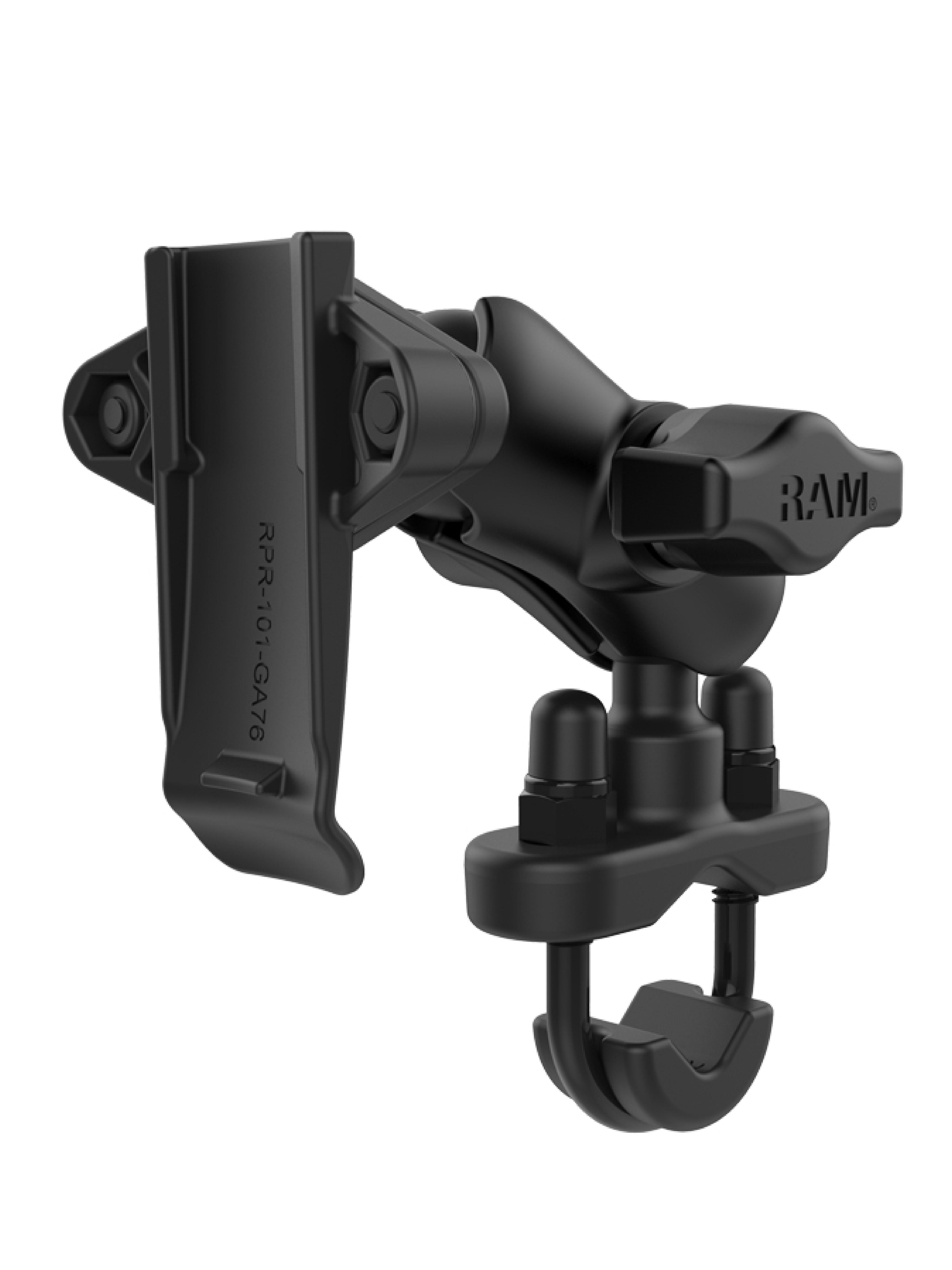 RAM Mounts Motorrad-Halterung mit Garmin-Adapter - B-Kugel (1 Zoll), Schraubklemme, kurzer Verbindungsarm