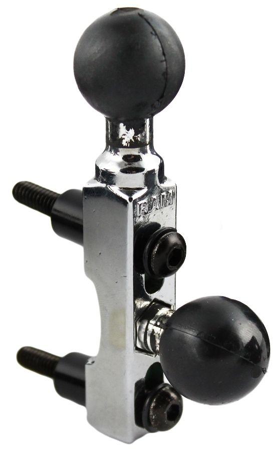 RAM Mounts Chrom-Basisbefestigung für Motorräder (Lenker/Bremse/Kupplung) mit zweiter Kugel - B-Kugel (1 Zoll)