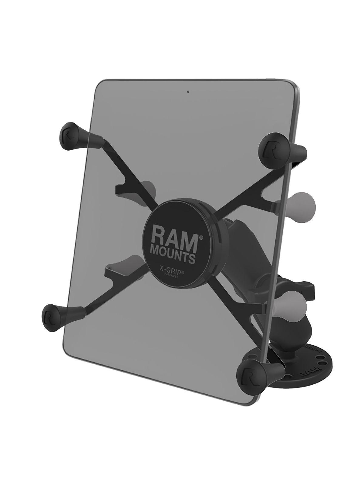RAM Mounts X-Grip Aufbauhalterung für Tablets (7 Zoll) - B-Kugel (1 Zoll), runde Basisplatte (AMPS), mittlerer Verbindungsarm
