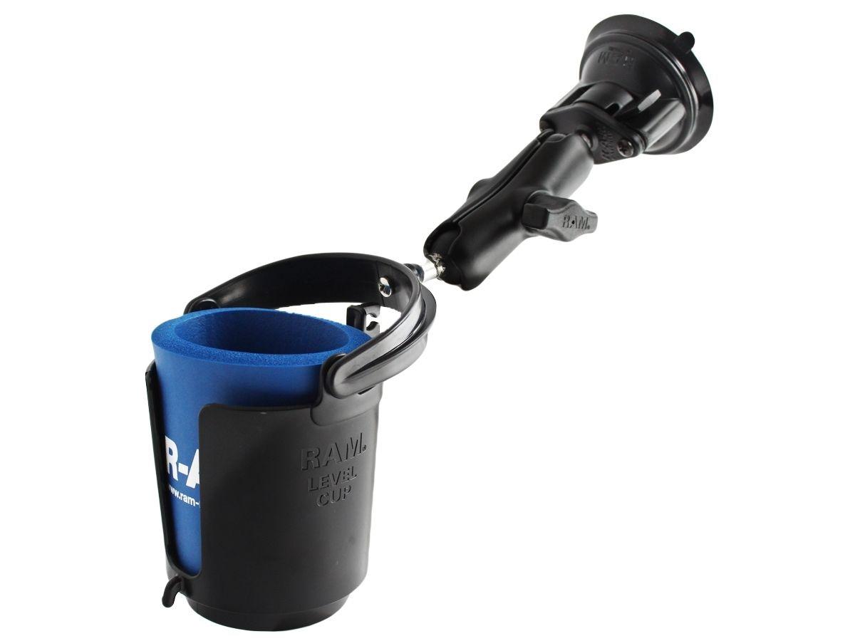 RAM Mounts Saugfusshalterung mit Getränkehalter - mit Saugfuss, B-Kugel (1 Zoll), im Polybeutel