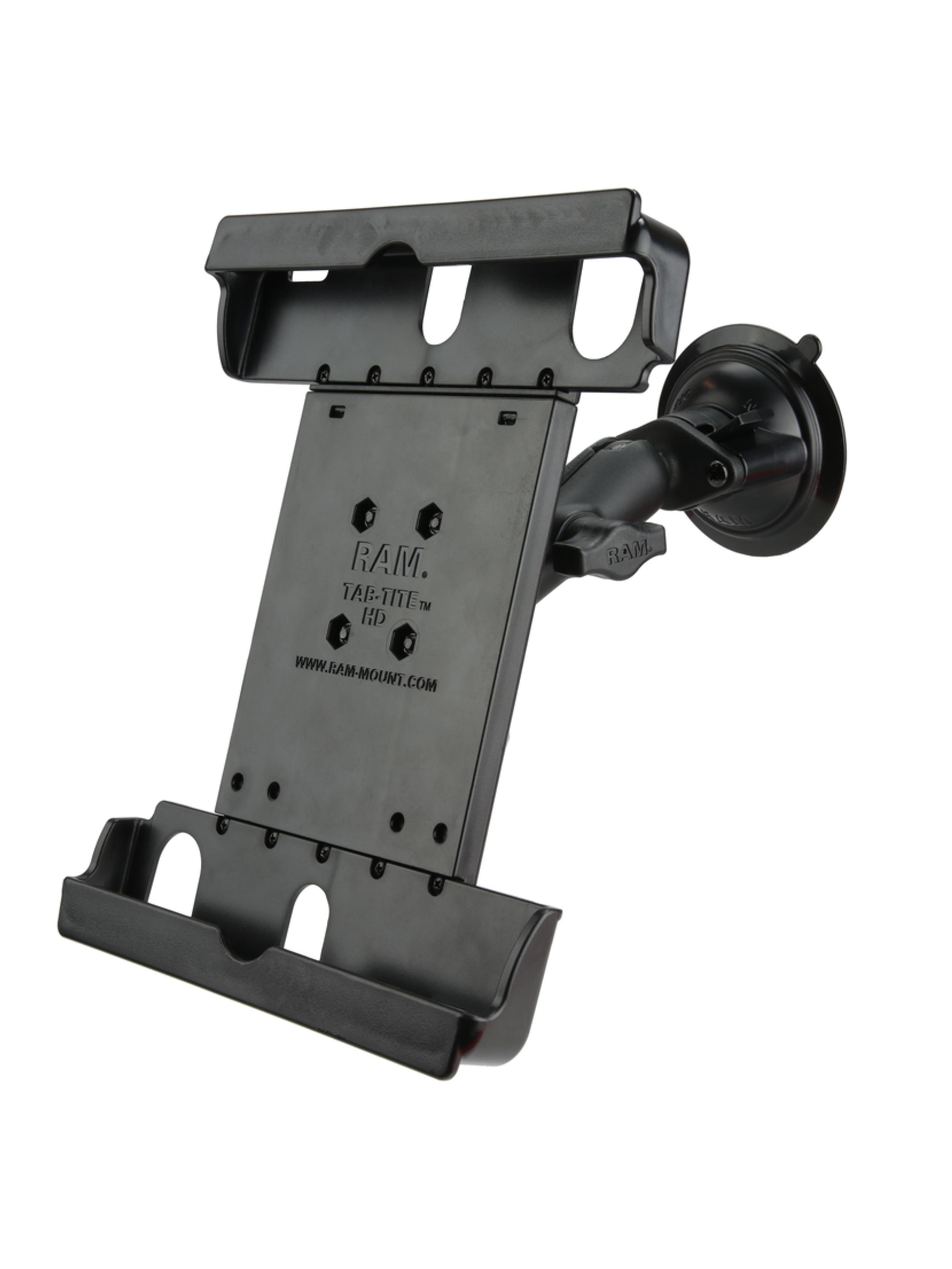 RAM Mounts Saugfuss-Halterung mit Tab-Tite Universal-Halteschale für 9-10.5 Zoll Tablets in Schutzgehäusen - B-Kugel (1 Zoll), mittlerer Verbindungsarm