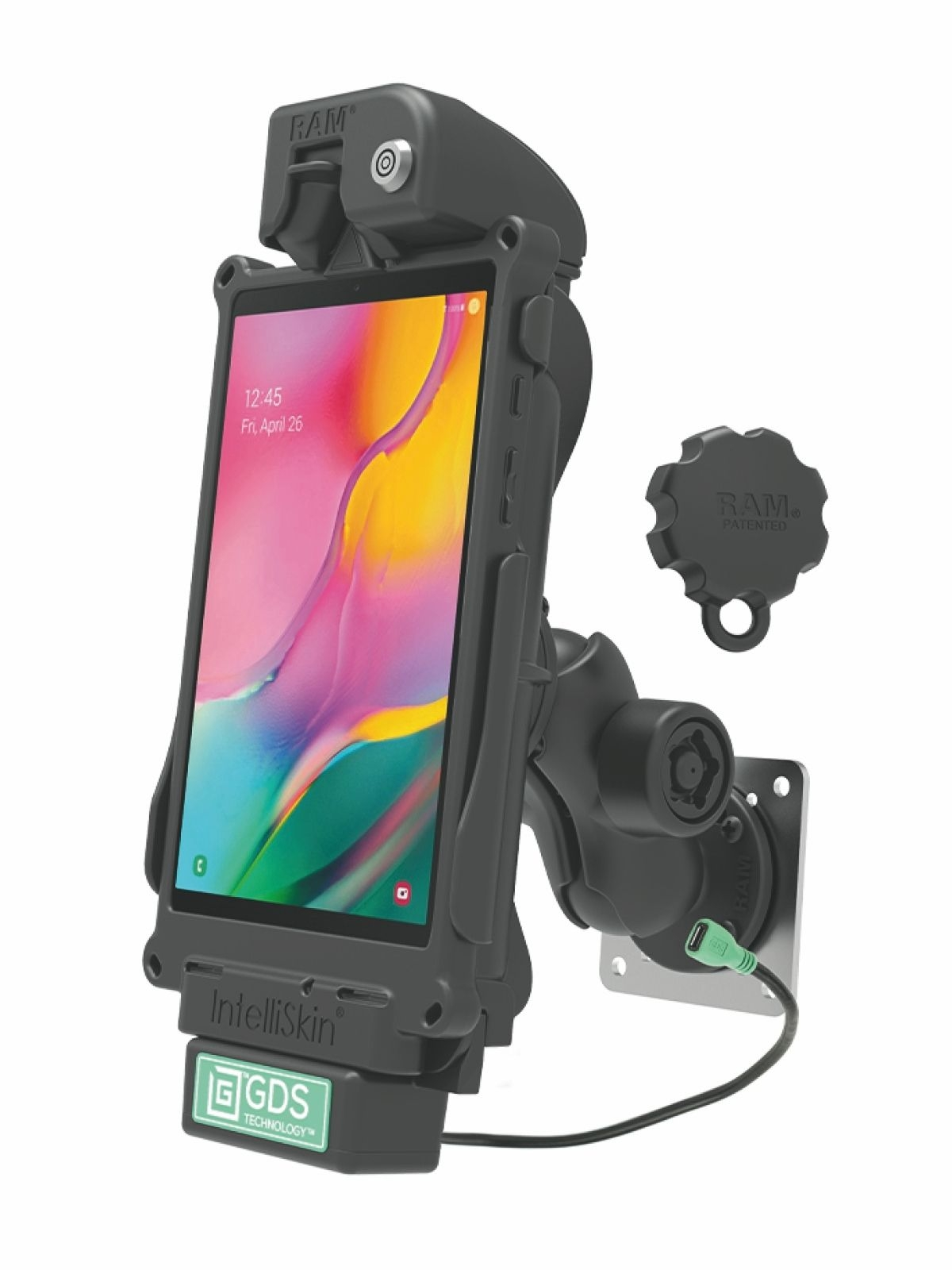 RAM Mounts GDS Bundle Dockingstation u. IntelliSkin-Lade-/Schutzhülle Samsung Tab A 8.0 (SM-T290, SM-T295) - microUSB-Stromanbindung, abschließbar, für Wandbefestigung geeignet, Pin-Lock Sicherung