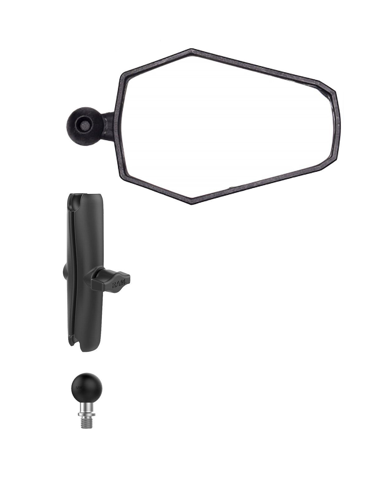 Doubletake Mirror Set - B-Kugel (1 Zoll), Adventure Mirror, langer Arm, M10 Basiskugel