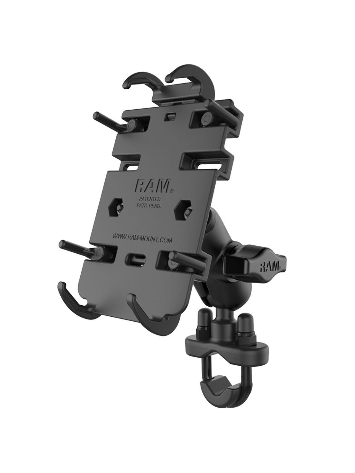 RAM Mounts Universal Lenker-/Rohr-Halterung - B-Kugel (1 Zoll), Rohr-Klemme, kurzer Verbindungsarm, Universal Quick-Grip Halteschale