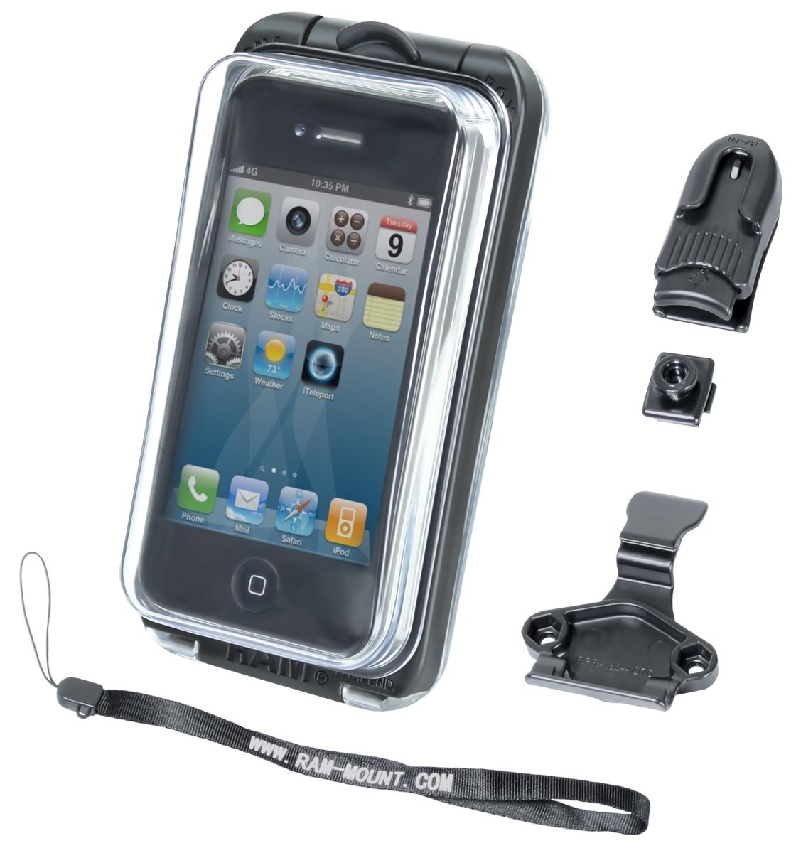 RAM Mounts Aqua Box PRO 10 - mit Gürtel-Clip, Befestigungs-Clip u. Handschlaufe