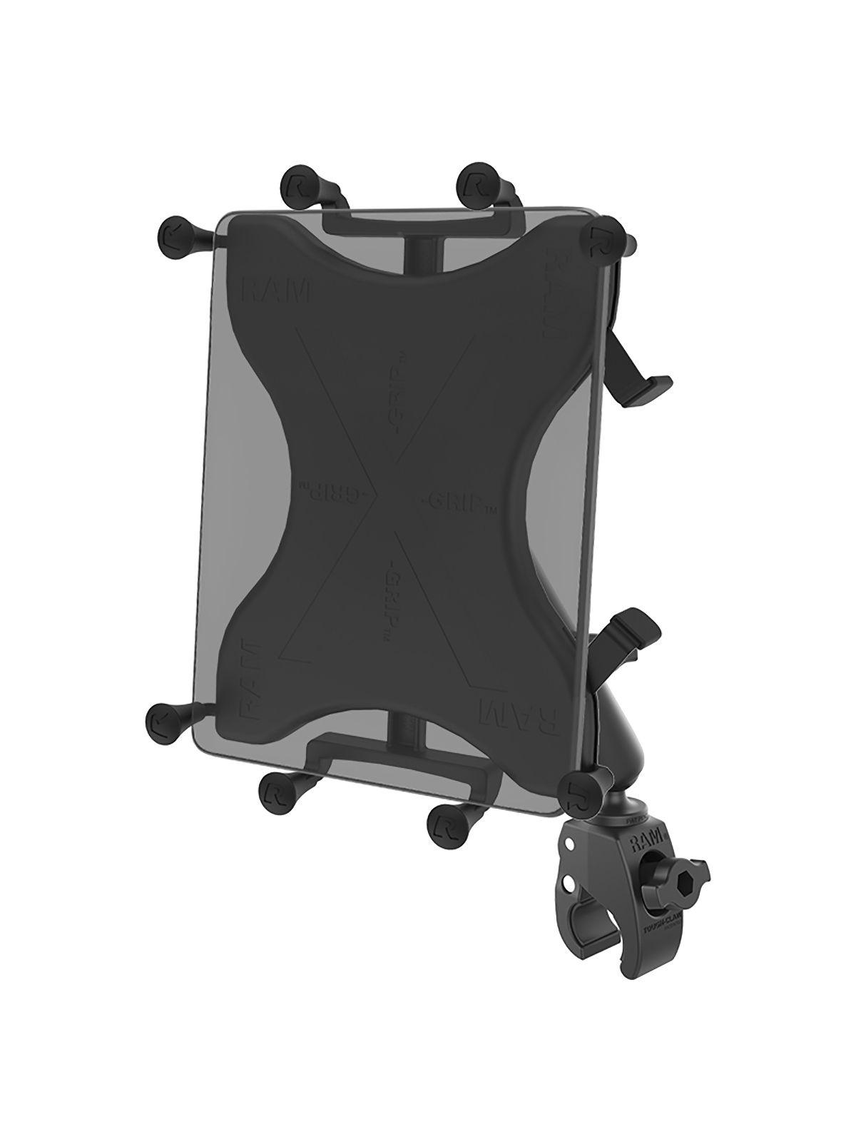 RAM Mounts X-Grip Klemm-Halterung für Tablets (10 Zoll) - B-Kugel (1 Zoll), kleine Tough-Claw, langer Verbindungsarm, Rotor-Adapter