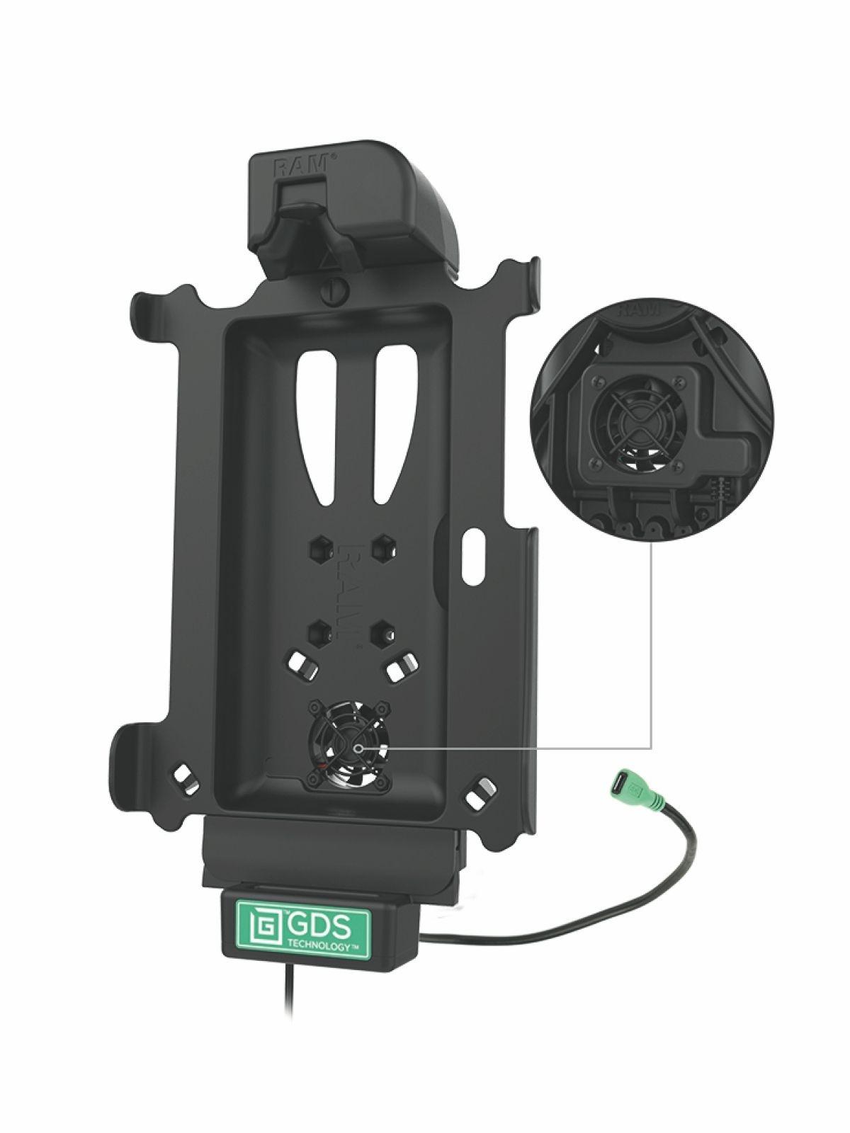 RAM Mounts GDS Dockingstation mit Kühlung für Samsung Tab A 8.0 (SM-T290, SM-T295) in IntelliSkin-Lade-/Schutzhüllen - USB-C-Stromanbindung, Ventilator, AMPS-Anbindung